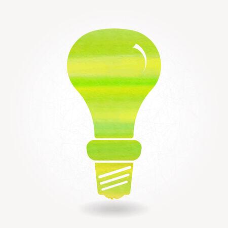 bombillo ahorrador: Silueta estilizada de la l�mpara de bajo consumo con textura de acuarela Vectores
