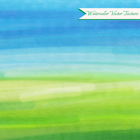 Green and blue watercolor texture with rural abstract landscape