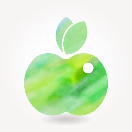 Green watercolor apple icon. Eps10 Vector