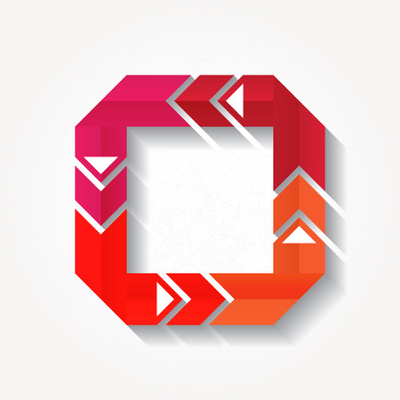 Square sign with four red folded ribbons. Eps10 Vector