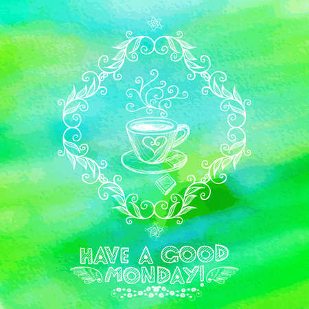 Bright hand drawn Monday greeting card with coffee cup. Eps10 Vector