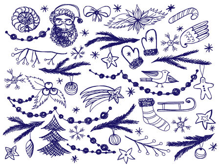 Set of hand drawn Christmas doodle objects Vector