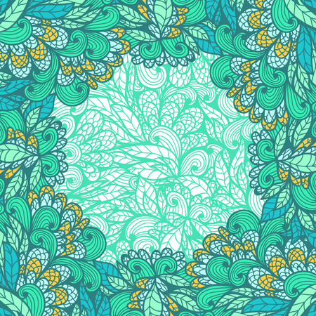 Hand drawn greeting card with floral  blue and green ornament Vector