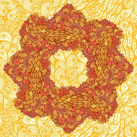 Hand drawn orange floral garland Vector