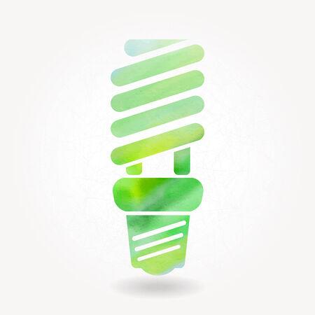 bombillo ahorrador: Silueta estilizada de la l�mpara eficiente de la energ�a con la acuarela textura Vectores