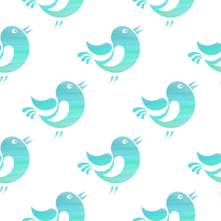 Seamless pattern with stylized silhouettes of small birds with watercolor texture Vector