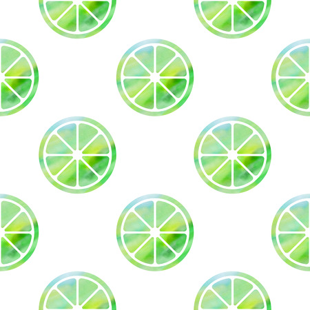 Seamless pattern with stylized silhouettes of green limes with watercolor texture Vector