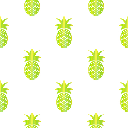 Seamless pattern with stylized silhouettes of pineapples with watercolor texture Vector