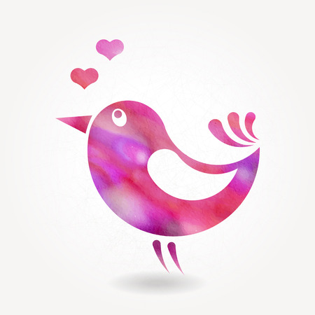 Stylized silhouette of small bird with watercolor texture Vector