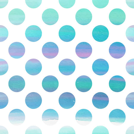 Seamless blue watercolor pattern with polka dots Vector
