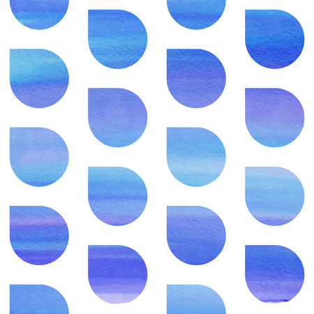 Seamless blue watercolor pattern with rain water drops
