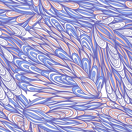 Seamless floral blue and beige hand drawn doodle pattern Vector