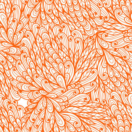 Seamless floral orange hand drawn doodle pattern Vector
