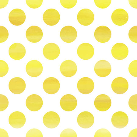 polka dot background: Yellow watercolor seamless texture with polka dots Illustration