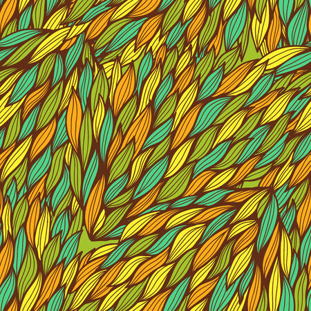 Seamless floral orange and green bright doodle pattern