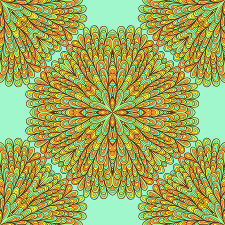 Seamless geometric pattern with hand drawn bright ornamental flowers Illustration