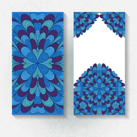 Set of vertical hand drawn floral banners, invitation, greeting or visting cards. Eps10