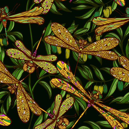 dragonfly wings: Seamless hand drawn vintagel pattern with dragonflies and olive branches