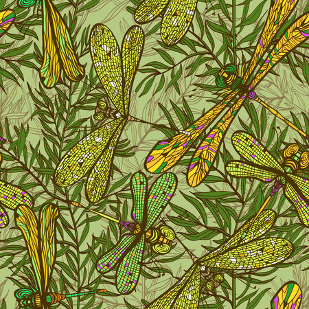 vintagel: Seamless hand drawn vintagel pattern with dragonflies and rosemary herb