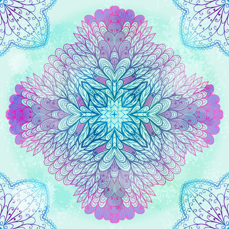 mehandi: Hand drawn ethnic circular pink and blue ornament.