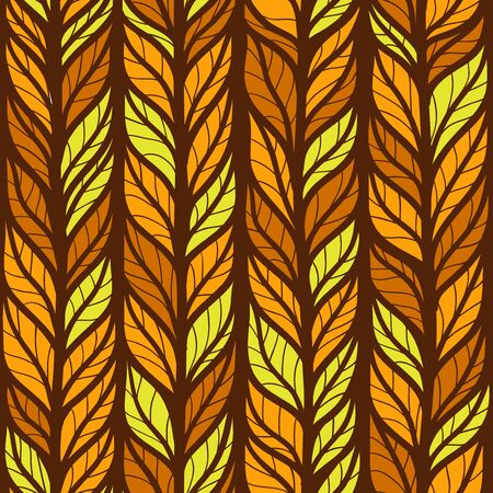 Seamless autumn pattern with hand drawn stylized doodle leaves Illustration