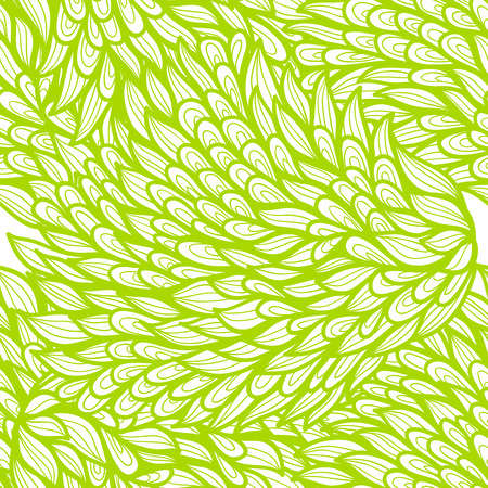 Seamless floral monochrome green doodle pattern