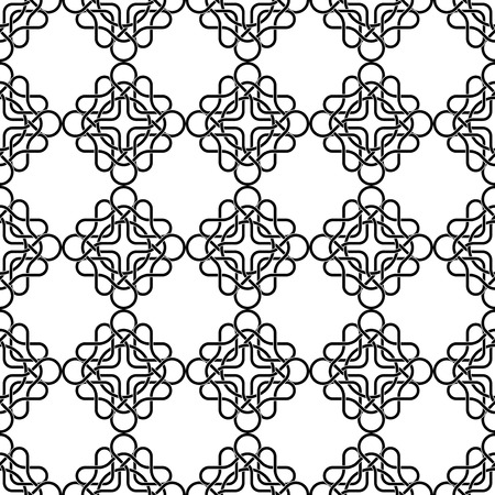 rope folk: Seamless black and white pattern with celtic traditional abstract ornament