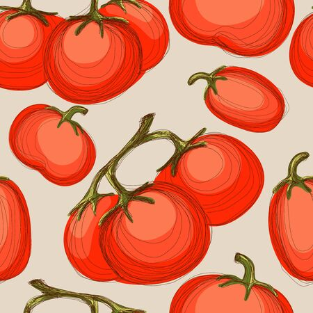 Seamless hand drawn background with red tomatoes