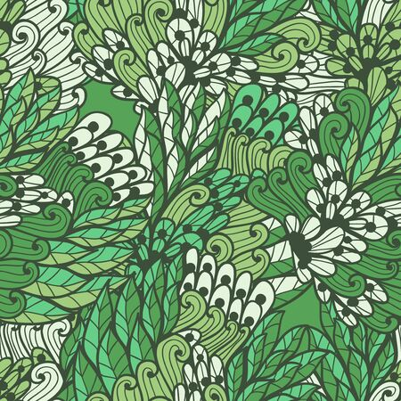 Seamless floral green and beige summer doodle pattern