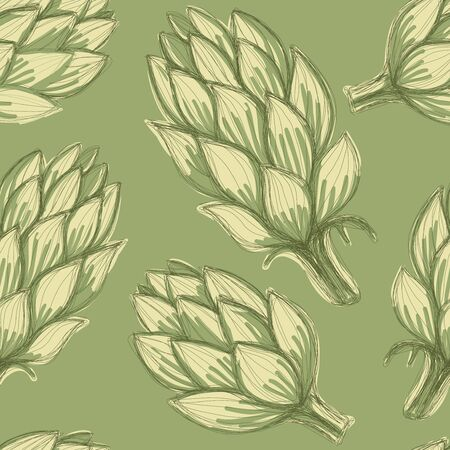 Seamless hand drawn background with artichokes