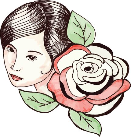 traced: Girl with roses, traced linear sketch with watercolor painting imitatio