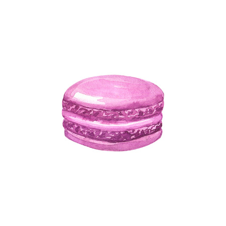 Purple macaron. Hand drawn watercolor illustration. Isolated on white background. Фото со стока