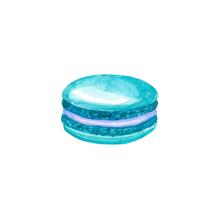 Blue macaron. Hand drawn watercolor illustration. Isolated on white background.