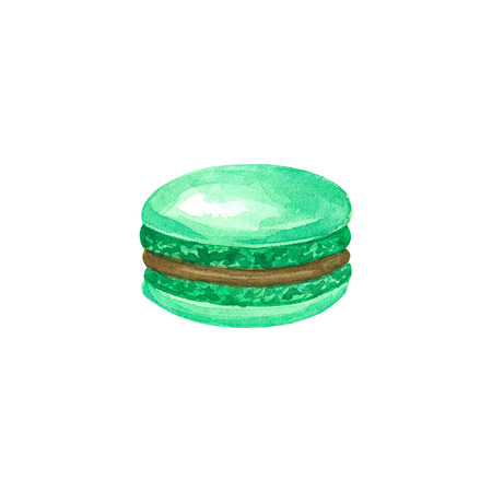 Green macaron with chocolet brown filling. Hand drawn watercolor illustration. Isolated on white background. Фото со стока