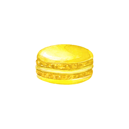 Yellow macaron. Hand drawn watercolor illustration. Isolated on white background. Фото со стока