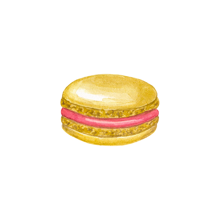 Beige macaron with red filling. Hand drawn watercolor illustration. Isolated on white background. Фото со стока