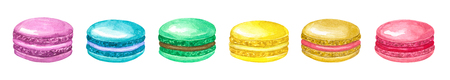 Brighr corolful macaroons. Pink, yellow, blue, green, beige, purple. Hand drawn watercolor illustration. Isolated on white background.