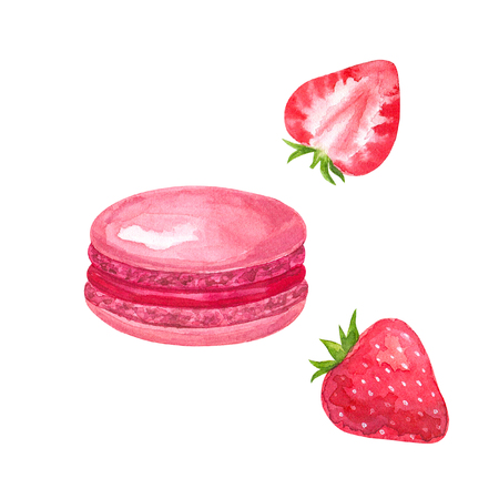 Pink macaron with red filling and strawberry. Hand drawn watercolor illustration. Isolated on white background.