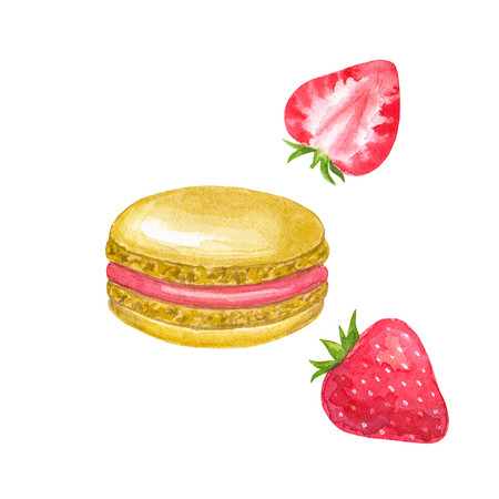 Beige macaron with red filling and strawberry. Hand drawn watercolor illustration. Isolated on white background. Фото со стока