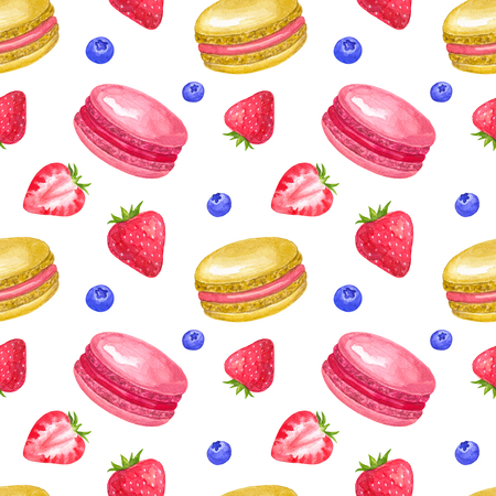 Seamless pattern with strawberry and macaroons. Hand drawn watercolor illustration. Isolated on white background.