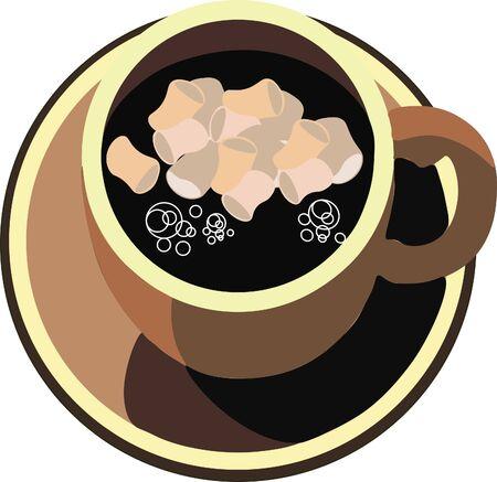 マシュマロとコーヒー カップ  イラスト・ベクター素材