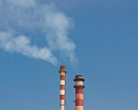 fume: Chimney stack with fume Stock Photo