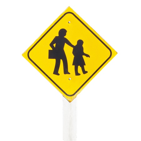 School warning sign isolate photo