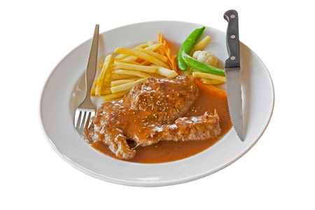stake: Meat stake isolate on white Stock Photo
