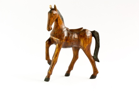 Horse wood isolate on white Stok Fotoğraf