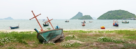 Fishing boat at beach photo