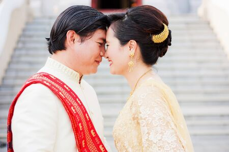 PRACHUABKIRIKHAN, THAILAND - NOVEMBER 21; Unidentified couple sweet at a beauty temple on November 21, 2012 in Tangsai temple, Prachuabkirikhan, Thailand  The most beautiful temple of Thailand