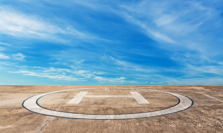 heliport: Heliport on high mountain with blue sky in Thailand Stock Photo