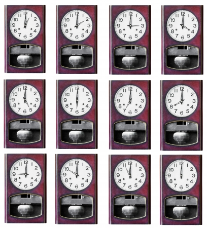 Twelve hour clock wood isolated on white background photo