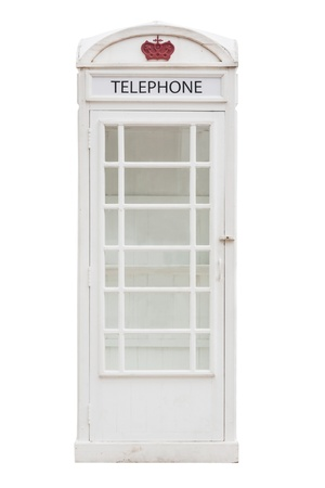 White phonebox isolated from old street photo